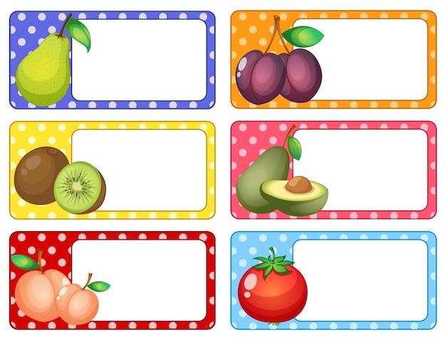 Etiquetas quadradas com ilustração de frutas frescas