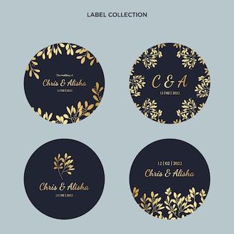 Etiquetas realistas de luxo de casamento dourado