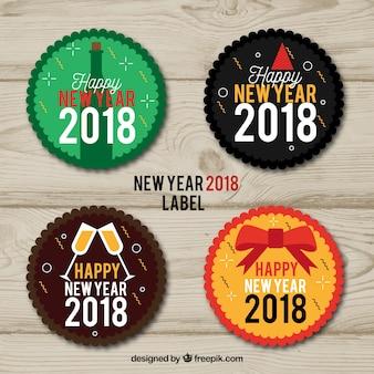 Etiquetas redondas de ano de 2018