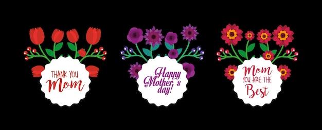 Etiquetas redondas flores decorativas conjunto de fundo preto