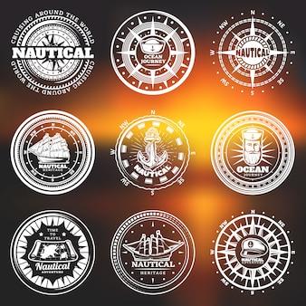 Etiquetas redondas náuticas brancas vintage