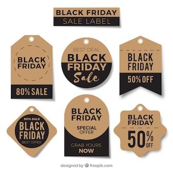 Etiquetas redondas pretas de sexta feira negra