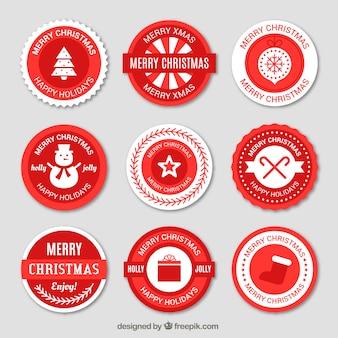 Etiquetas redondas vermelhas do natal