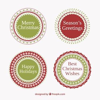 Etiquetas redondas vermelhas e verdes do natal
