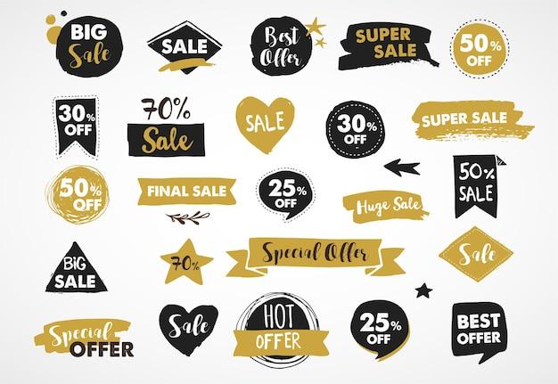 Etiquetas super sale, etiquetas modernas douradas e pretas e design de modelo de tags