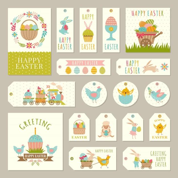 Etiquetas, tags com ilustrações do tema de páscoa com coelhos, plantas e ovos coloridos