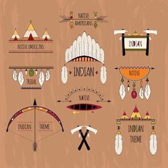Etiquetas tribais definidas de cor