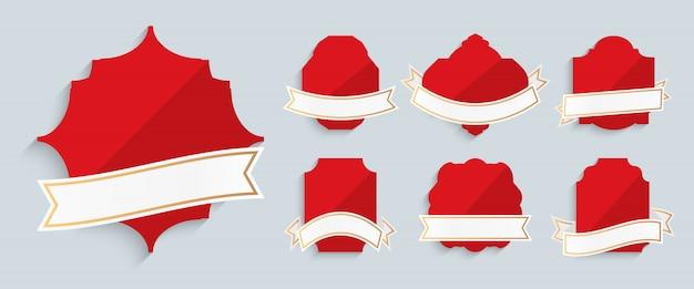 Etiquetas vermelhas com fitas ouro quadro retrô vintage conjunto. forma diferente para promoção, preço de venda. modelo de oferta especial de banner de texto. adesivo moderno decorativo de luxo