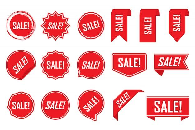 Etiquetas vermelhas ou tags isoladas
