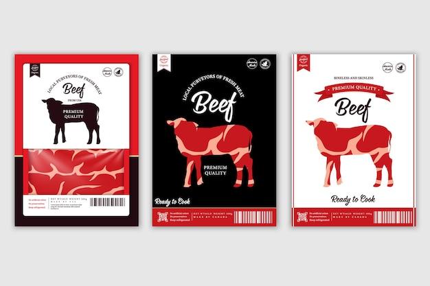 Etiquetas vetoriais de açougue com silhuetas de animais de fazenda vaca, galinha, porco, cordeiro, peru e pato