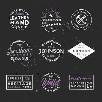 Etiquetas vintage com tema de artigos de couro. emblemas artesanais de artigos de couro