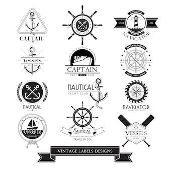 Etiquetas vintage de navios náuticos, ícones e elementos de design.
