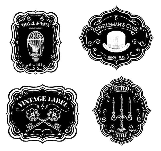 Etiquetas vintage ou adesivos royal gentlemen club