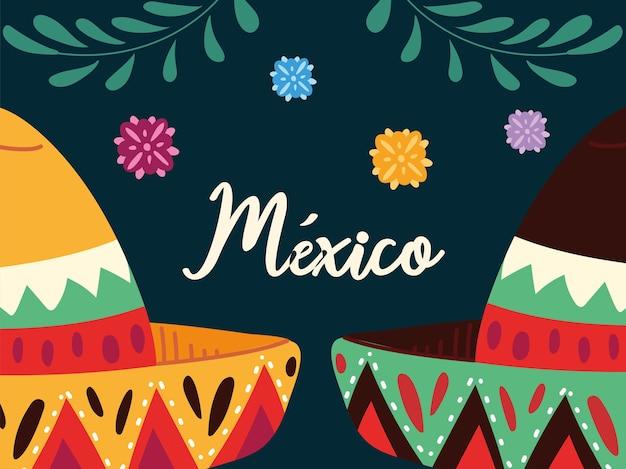 Etiquete o méxico com chapéus mexicanos, design de pôster