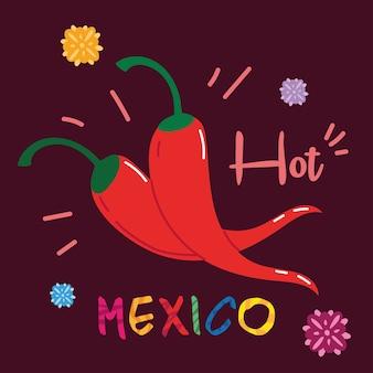Etiquete o méxico com pimentas mexicanas, design de pôster