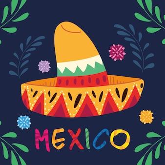 Etiquete o méxico com um chapéu mexicano, design de pôster