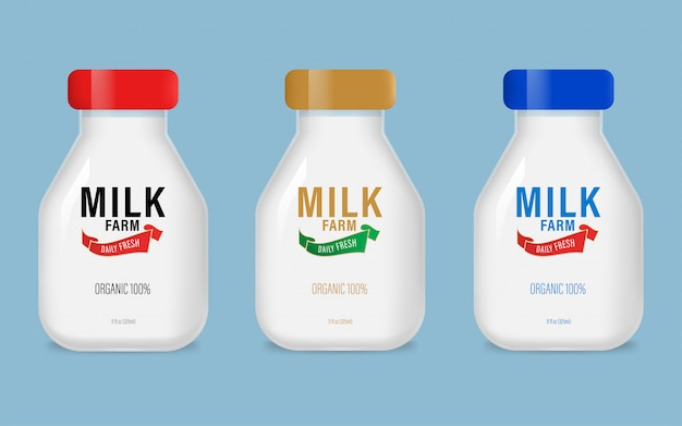 Etiquete o produto diário da exploração agrícola orgânica natural do leite na garrafa.