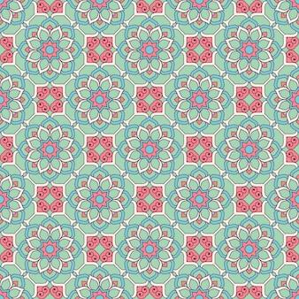 Étnica floral padrão sem emenda com mandalas