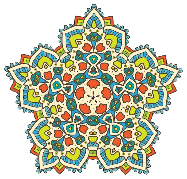 Étnica fractal mandala vector meditação parece floco de neve ou maya aztec