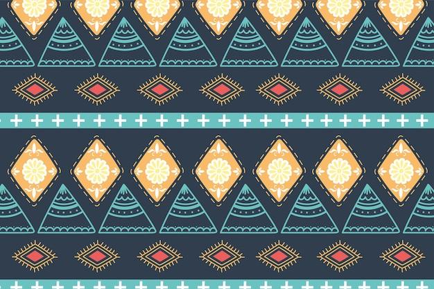 Étnico artesanal, ilustração em vetor textura de tecido ornamento árabe de fundo