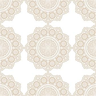 Étnico delicado padrão sem emenda com mandala - ornamento redondo