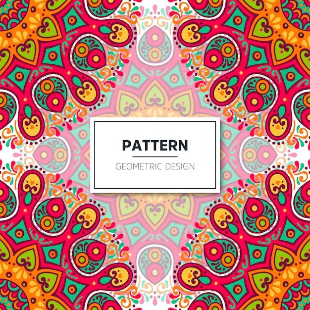 Étnico floral padrão sem emenda com mandalas