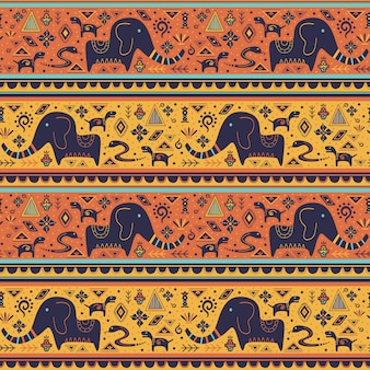 Étnico padrão sem emenda com doodle ornamentos