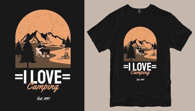 Eu adoro acampar, design de camisetas adventure. slogan do projeto da camisa ao ar livre.