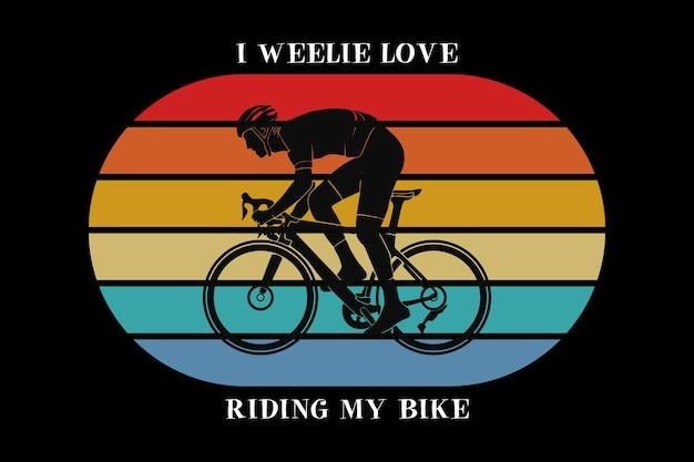 .eu adoro andar de bicicleta, design silte estilo retro