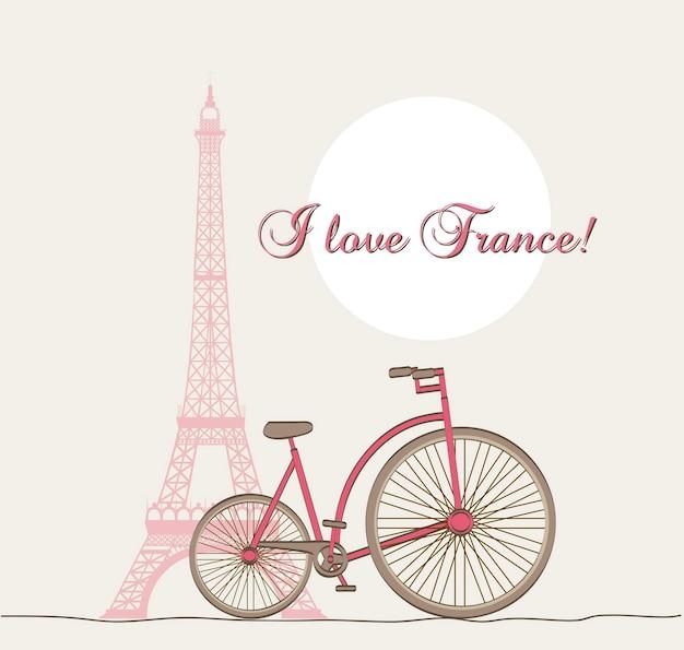 Eu amante frança texto com torre eiffel e bicicleta