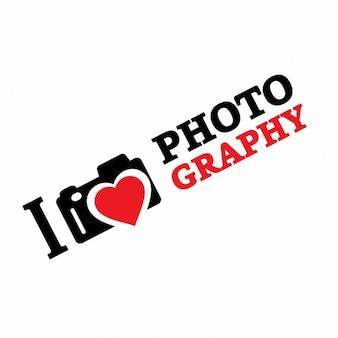 Eu amo a fotografia logotipo modelo isométrica