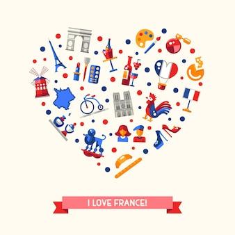 Eu amo a frança com pontos de referência e símbolos franceses famosos