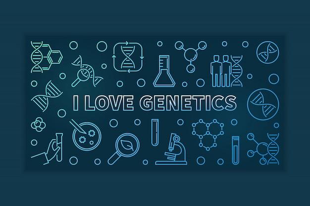 Eu amo a genética contorno colorido horizontal