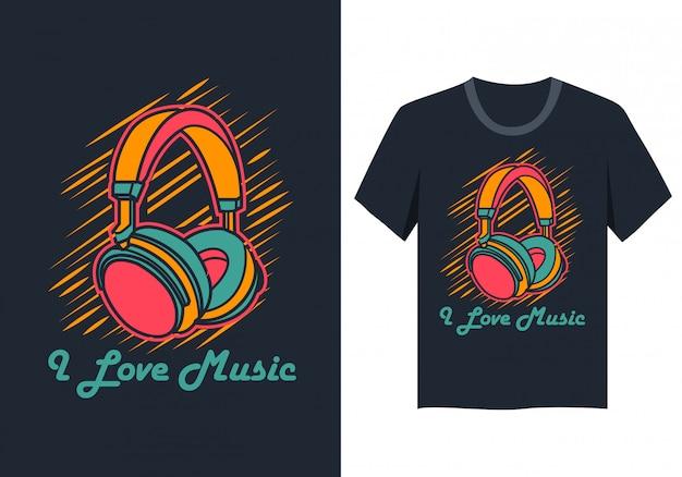Eu amo a música camiseta