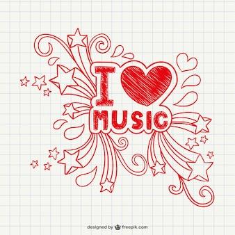 Eu amo a música vector