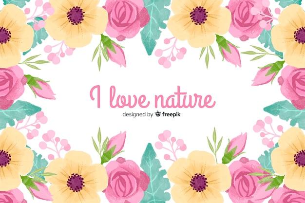 Eu amo a natureza. citação de letras com tema floral e flores