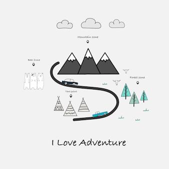 Eu amo a tipografia da aventura com carro
