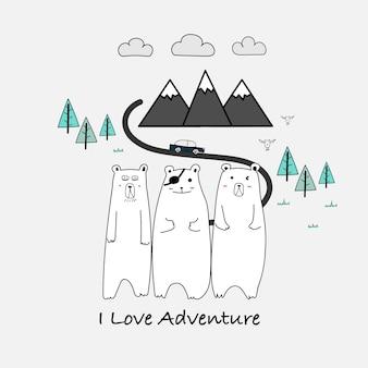 Eu amo a tipografia da aventura e o urso bonito