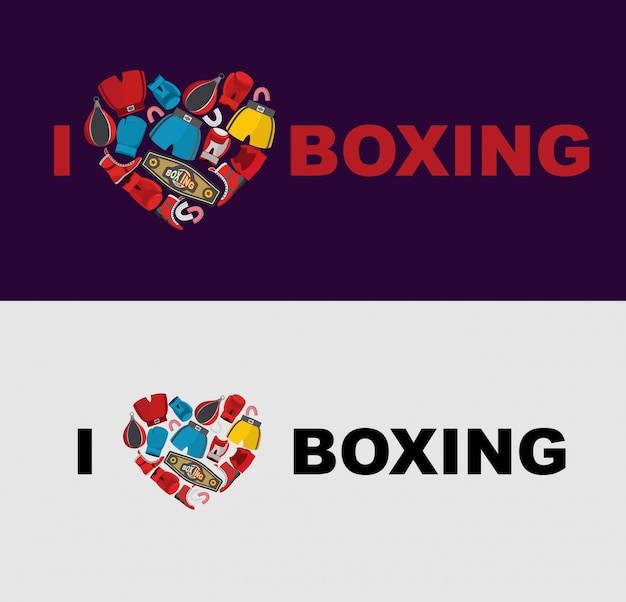 Eu amo boxe. símbolo do coração da engrenagem de boxe: capacete, calções e luvas de boxe. modelo para aplicação em uma t-shirt para os atletas.