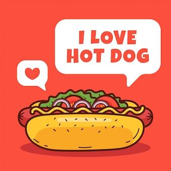 Eu amo cachorro-quente