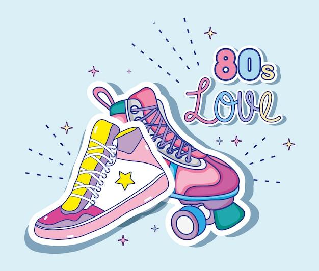 Eu amo desenhos animados dos anos 80 sapato e skate