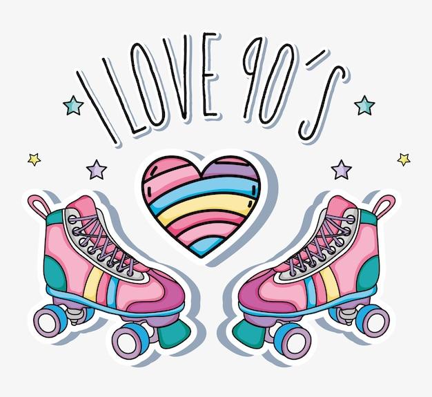 Eu amo desenhos animados dos anos 90 patins e coração