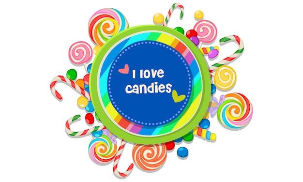 Eu amo doces mensagem rodeada de doces