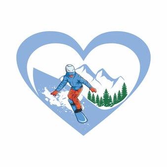 Eu amo esqui ilustração vetorial