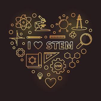 Eu amo ilustração de coração contorno dourado stem