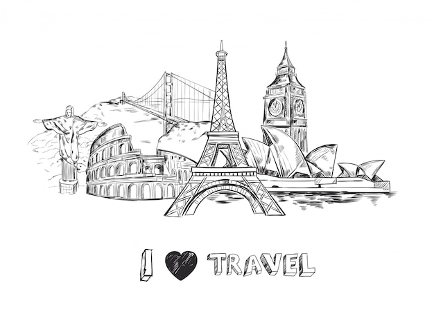 Eu amo ilustração de viagens