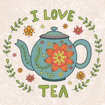 Eu amo ilustração vintage de chá