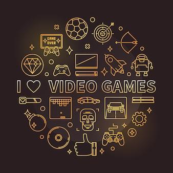 Eu amo jogos de vídeo dourado redondo linear icon ilustração