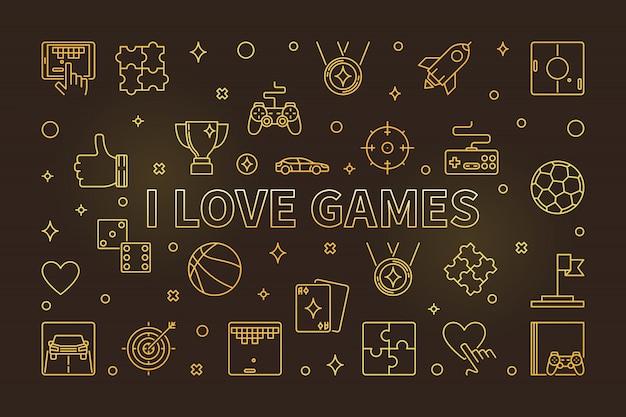 Eu amo jogos ícones de linha dourada