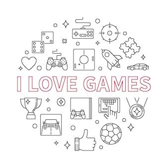 Eu amo jogos rodada ilustração contorno